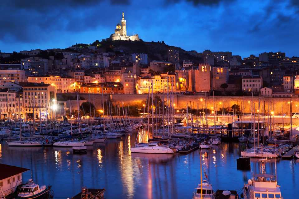 The harbour of Marseille at night